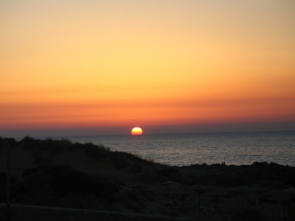 Kréta, západ slunce u Falasarny